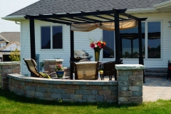 Patio Seat Wall with Pergola in the Fox Valley