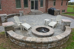 Patio Seat Wall with Fire Pit in the Fox Cities, WI