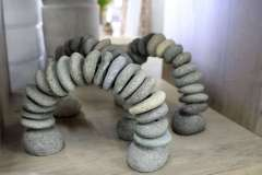 Hand Crafted Cairn Stone Rainbow Sculpture