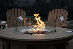 Round Fire Table with Glass Shield at Vande Hey Company