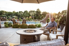 Round Firetable in an Outdoor Living Space