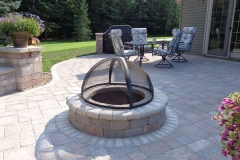 Paver Firepit with Metal Cage Protector