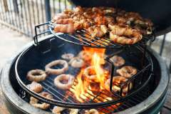Bacon Wrapped Onion Rings on the Big Green Egg