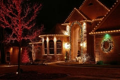 Residential holiday lighting display in Appleton, Wisconsin