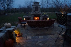 Nightscaping Around Outdoor Fireplace Near Kaukauna, WI