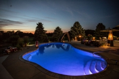 Pool Lit Up at Night with Lights Near Green Bay, WI