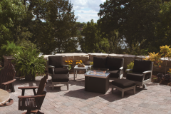 Outdoor Furniture on Paver Patio With Firetable