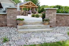 Natural Steps with Seatwalls and Pillars