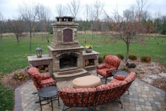 Brick Patio with Outdoor Fireplace and Furniture