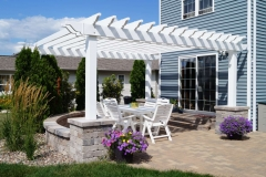 White Pergola attached to Patio with Pillars Near Green Bay, WI