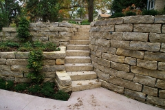 Natural Stone Retaining Wall with Stairs Near Neenah, WI